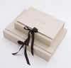 Rough Linen gift box small medium sizes with black ribbon