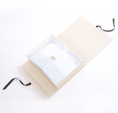 Rough Linen gift box with black ribbon tissue paper