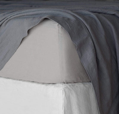 closeup detail of 100% linen fitted sheet light grey color