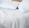 closeup detail of 100% linen flat sheet white color