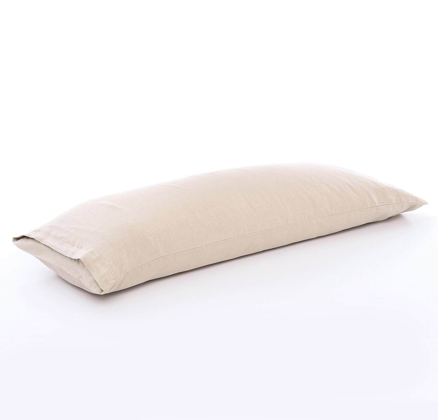 100% linen body pillow cover smooth linen natural un-dyed light brown beige color