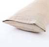 closeup detail of 100% linen body pillow cover smooth linen natural un-dyed light brown beige color