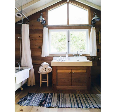bathroom scene with 100% linen curtains smooth airy lightweight linen slightly sheer pure white color