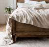 bedroom scene with 100% linen bed duvet comforter cover smooth texture lightweight linen fabric natural taupe un-dyed light brown beige tan color