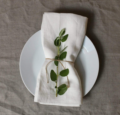 dining table plate with 100% linen napkin smooth texture lightweight linen fabric pure white color