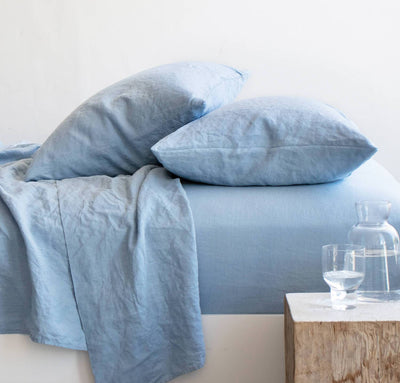 smooth linen sheet set by rough linen