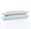 stack of two 100% linen body pillow cases mid-weight St. Barts linen fabric un-dyed natural taupe beige light blue aqua turquoise colors