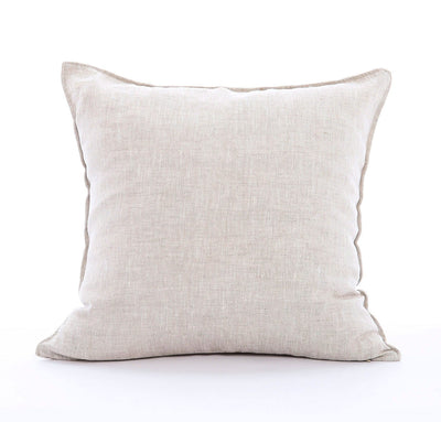 100% linen cushion cover 18 inch square St. Barts mid-weight linen fabric un-dyed natural taupe beige color