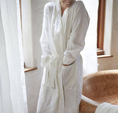 woman man wearing 100% linen bathrobe unisex robe mid-weight linen fabric white color