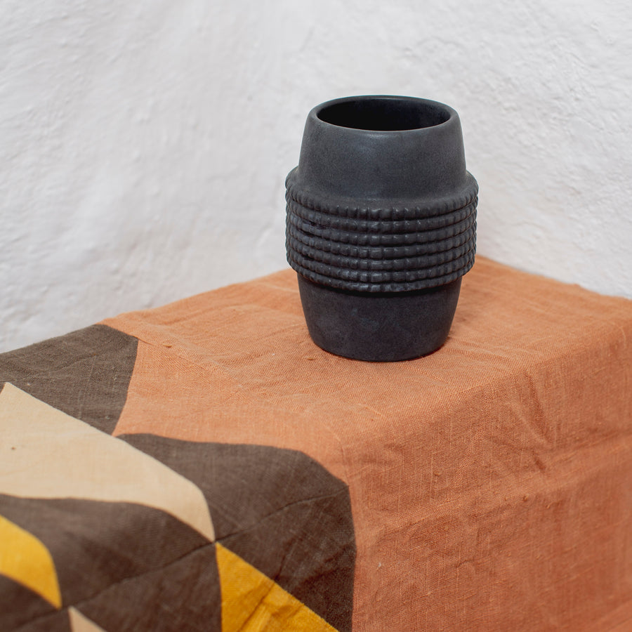 Large Tumbler Vase in Charcoal Black