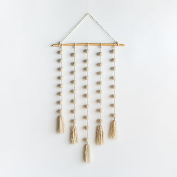 White  Pompon Wall Hanging