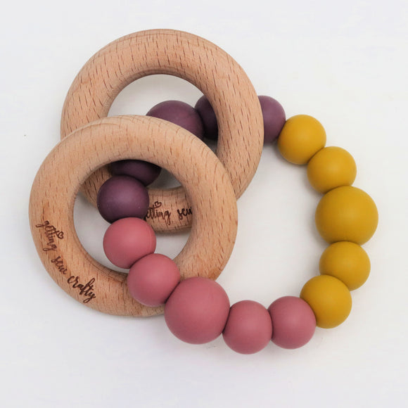 Getting Sew Crafty - Teething Toy - Natural - Silicone + Wood Rings