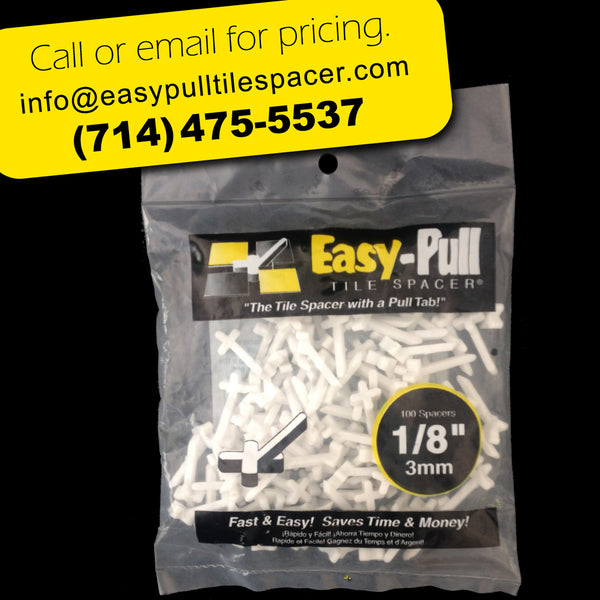 "b) 100B0108  : 1/8"" (3mm) EasyPULL Tile Spacer: BAG of 100  (Min. 10 cases per order)"
