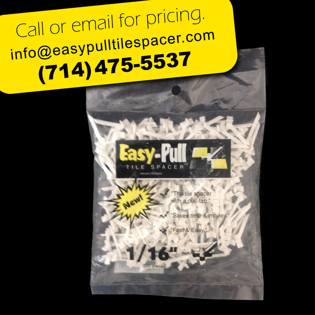 "a) 100B0116 : 1/16"" (1.5mm) EasyPULL Tile Spacer: BAG of 100  (Min. 10 cases per order)"
