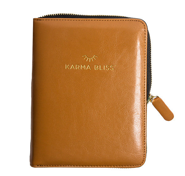 ODYSSEY JOURNAL VEGAN LEATHER GOLD ZIPPER KARMA BLISS NOTEBOOK