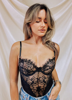 Lace Lingerie Bodysuit - Black