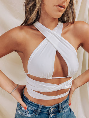 Work It Wrap Top- White