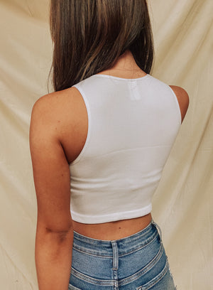 Close To Me Crop Tank- White