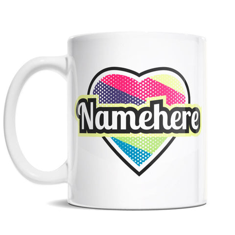 11oz Personalized Coffee Mug - Heart with Diagonal