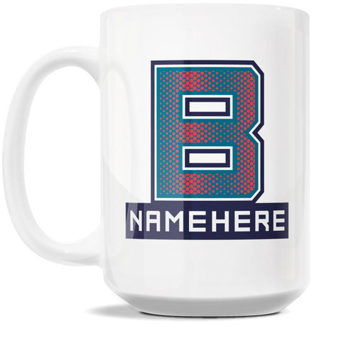 15oz Personalized Coffee Mug - Alphabet Collegiate I in Letter B