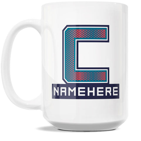 15oz Personalized Coffee Mug - Alphabet Collegiate I in Letter C