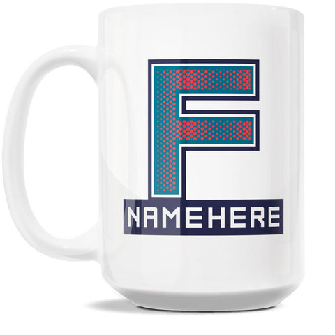 15oz Personalized Coffee Mug - Alphabet Collegiate I in Letter F