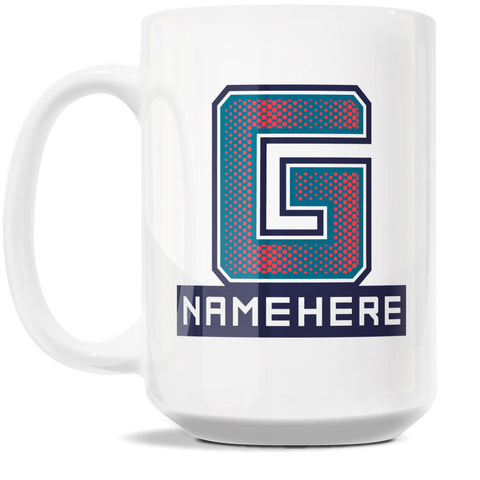 15oz Personalized Coffee Mug - Alphabet Collegiate I in Letter G