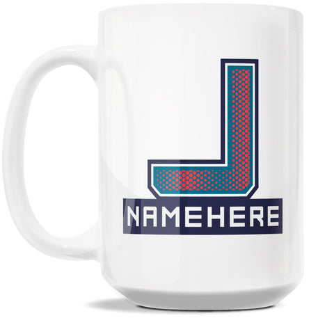 15oz Personalized Coffee Mug - Alphabet Collegiate I in Letter J