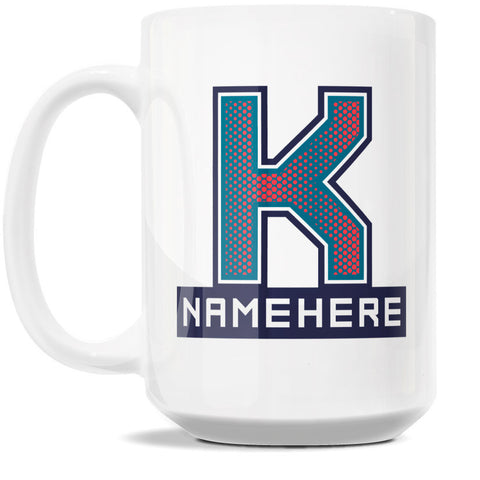 15oz Personalized Coffee Mug - Alphabet Collegiate I in Letter K