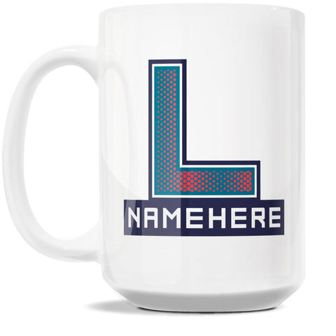 15oz Personalized Coffee Mug - Alphabet Collegiate I in Letter L