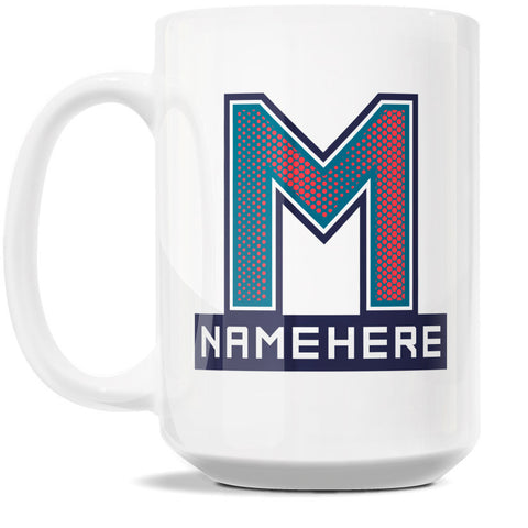15oz Personalized Coffee Mug - Alphabet Collegiate I in Letter M