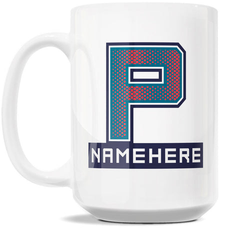 15oz Personalized Coffee Mug - Alphabet Collegiate I in Letter P