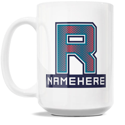 15oz Personalized Coffee Mug - Alphabet Collegiate I in Letter R