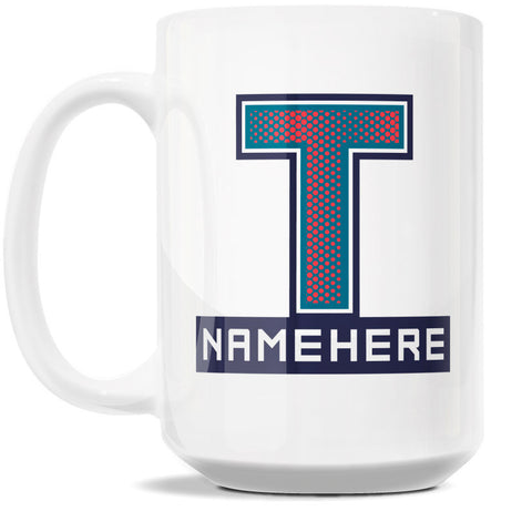 15oz Personalized Coffee Mug - Alphabet Collegiate I in Letter T