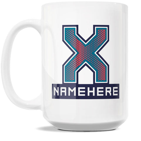 15oz Personalized Coffee Mug - Alphabet Collegiate I in Letter X