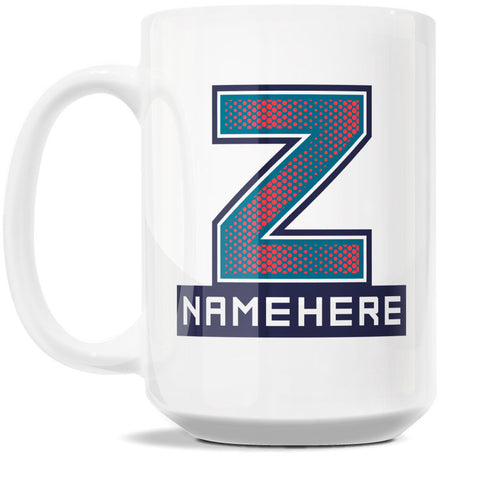 15oz Personalized Coffee Mug - Alphabet Collegiate I in Letter Z