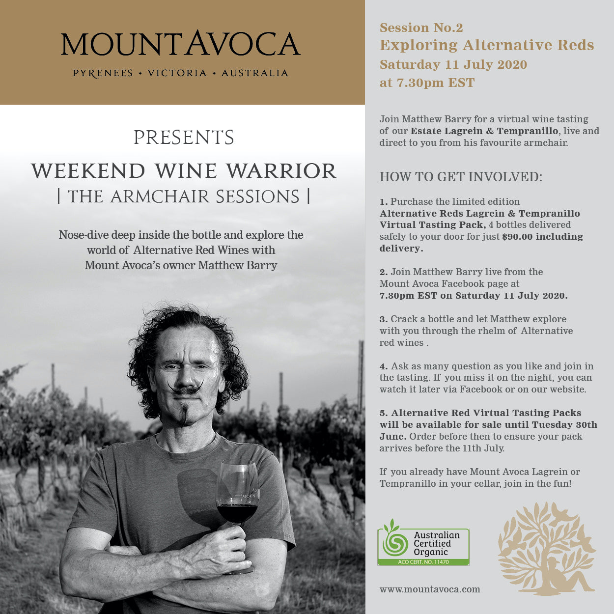 Virtual Wine Tasting - The Armchair Sessions #2 Saturday 11 July