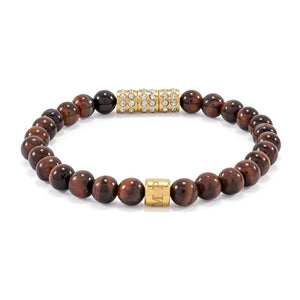 Red Tiger Eye | Elastic Bracelet | CZ Diamonds