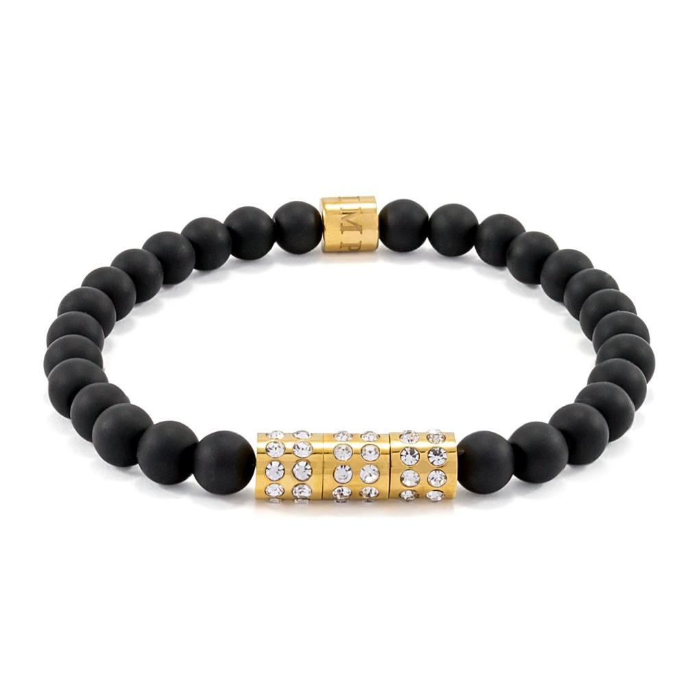Matte Black Onyx | Elastic Bracelet | CZ Diamonds