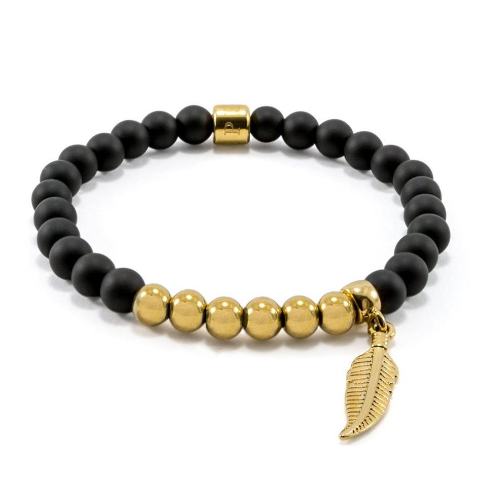 Matte Black Onyx Bracelet | Feather | Gold Plated