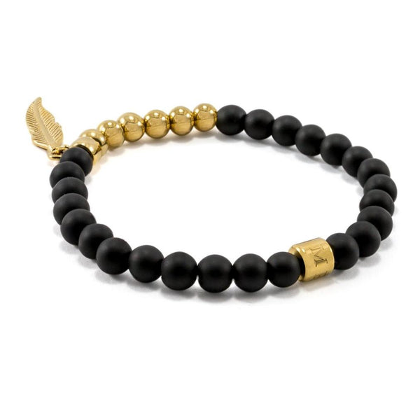Matte Black Onyx | Feather | Gold Plated