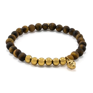 Matte Tiger Eye Bracelet | Skull Charm | Gold Plated