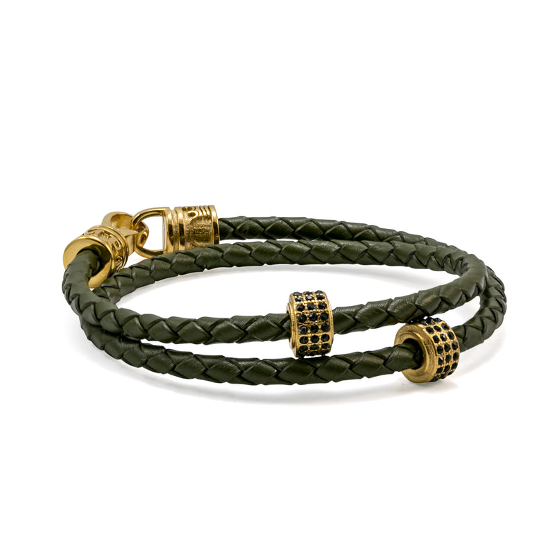 Khaki Double Leather Strap Bracelet