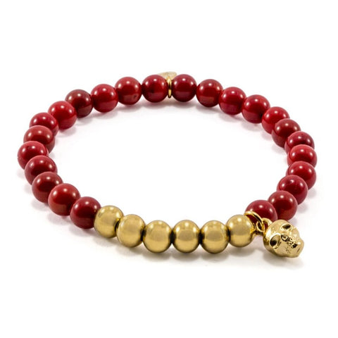 Red Coral Bracelet | Skull Charm | Gold Plated