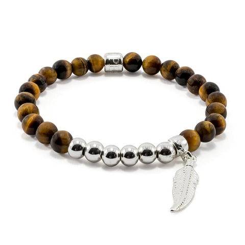 Tiger Eye | Feather | White Gold Plated