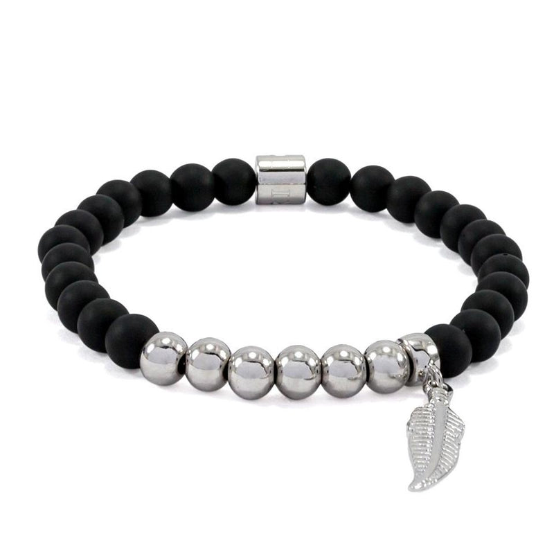 Matte Black Onyx Bracelet | Feather | White Gold Plated