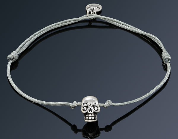 Silver Plated Skull on Grey String Bracelet - Imperi - 1