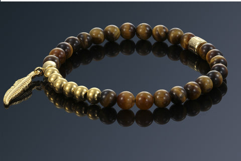 Tiger Eye | Feather | Gold Plated - Imperi - 1