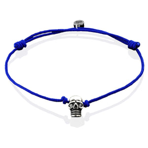 Silver Plated Skull on Blue String Bracelet