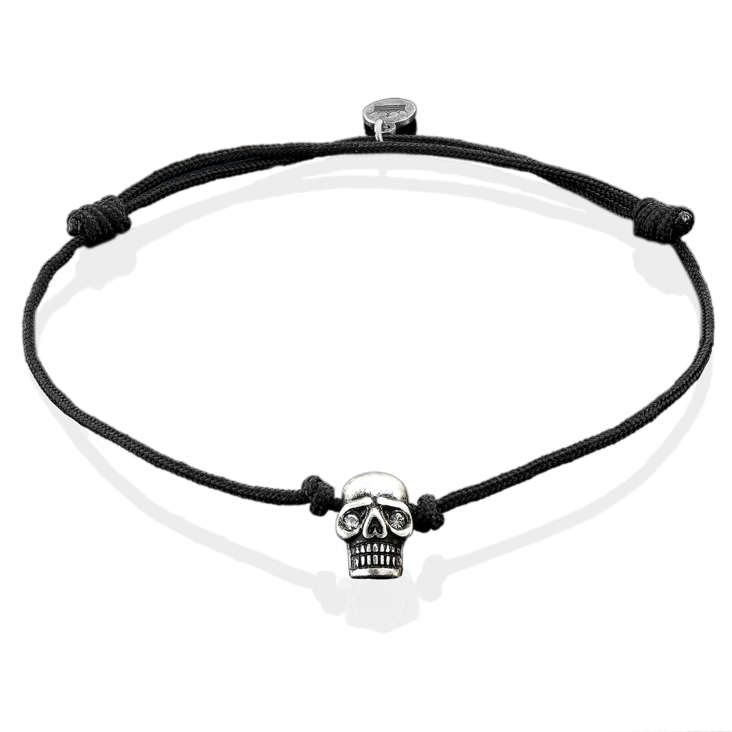 Silver Plated Skull on Black String Bracelet